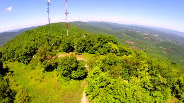 aerial shot of communication towers