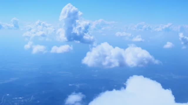 Aerial Shot of Cumulus Clouds in a Blue Sky Floating above a Landscape