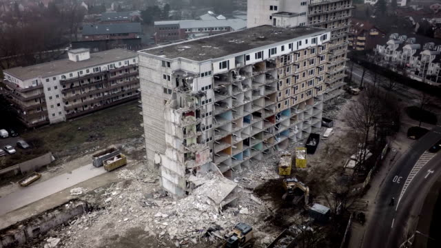 Aerial shot of demolished concrete Buidling video
