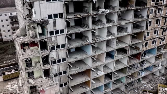 Aerial shot of demolished concrete building. video