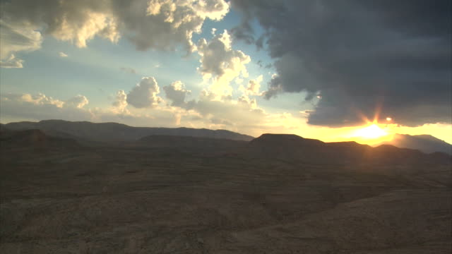 aerial shot of desert near las vegas at sunset video