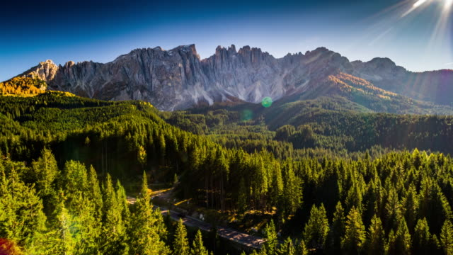 Aerial shot of Dolomite Alps at Latemar Mountain in South Tyrol, Italy