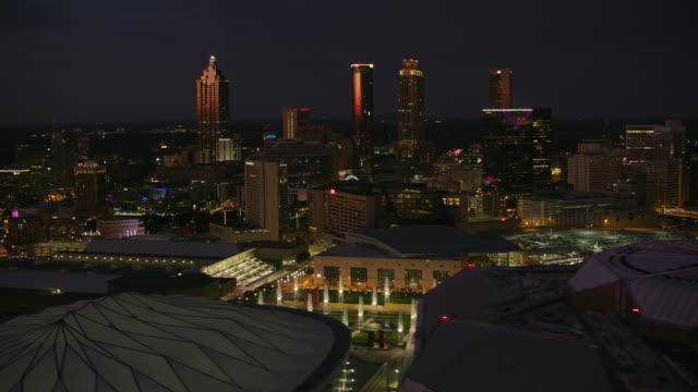 Aerial shot of downtown Atlanta at night. video