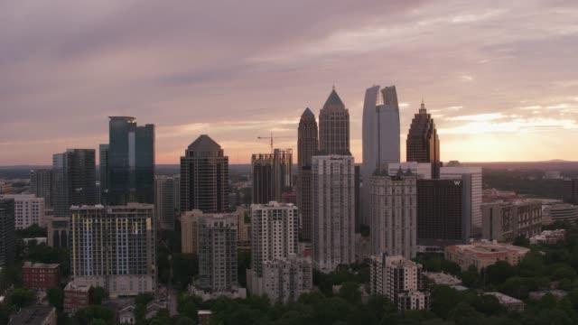 Aerial shot of downtown Atlanta at sunset. video