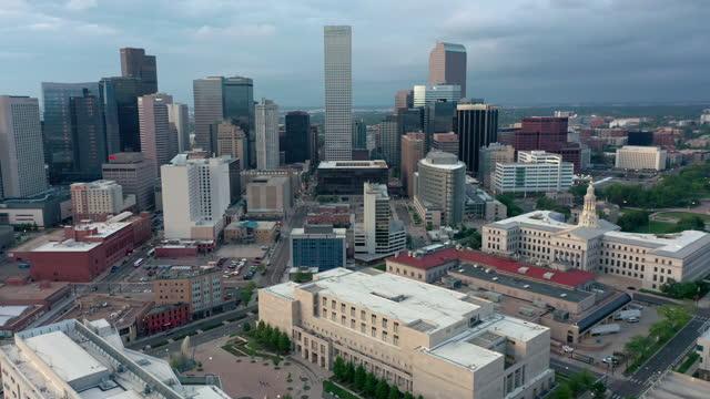 Aerial shot of downtown Denver, Colorado skyline