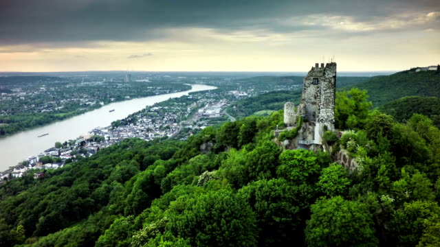 Aerial shot of Drachenfels and Rhine River in Germany video