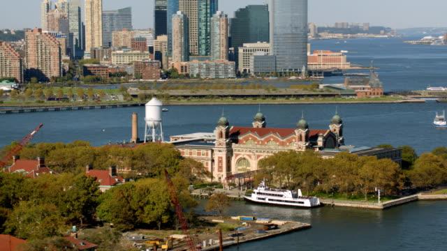 Aerial shot of Ellis Island, New York City video