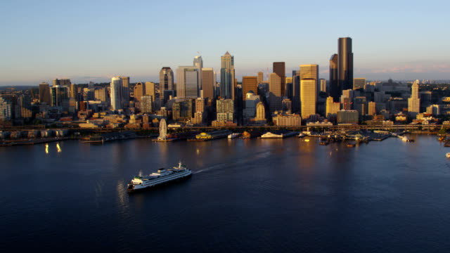 Aerial shot of ferry and Seattle skyline video