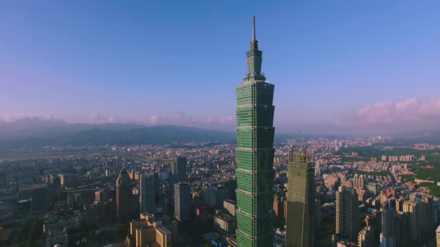 Aerial shot of financial district in City Taipei at dawn, Taiwan video
