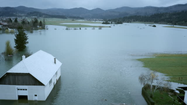 Aerial shot of flooded valley video