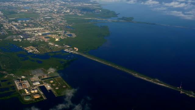 Aerial shot of Gandy Bridge crossing Tampa Bay video