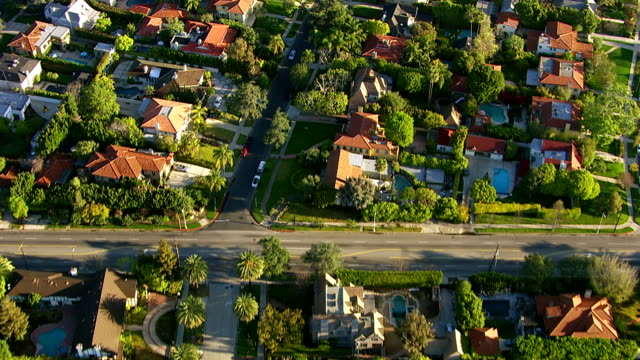 aerial shot of hollywood california neighborhood - american architecture stock videos & royalty-free footage