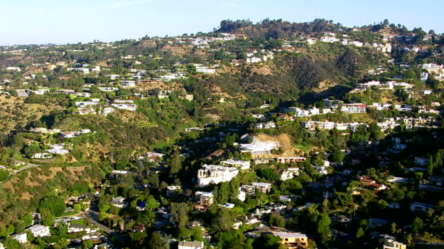 Aerial shot of Hollywood Hills, California video