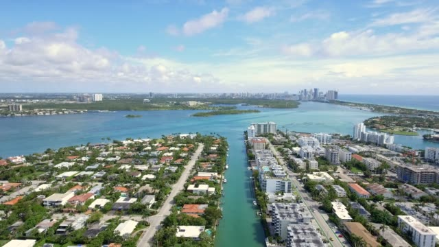 Aerial shot of homes and water in Miami Beach on a beautiful day video