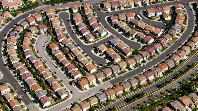 Aerial shot of housing development video