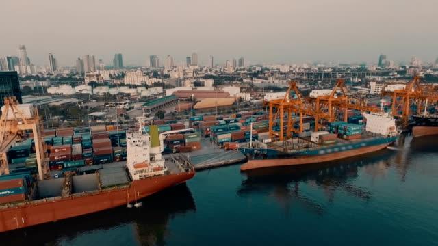 Aerial shot of industrial port video