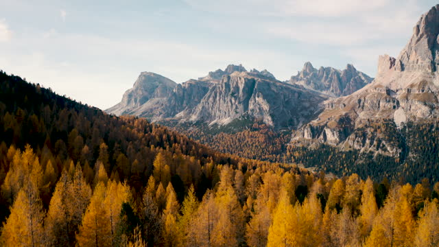 aerial shot of  Italian Dolomites on autumn, down to forest video