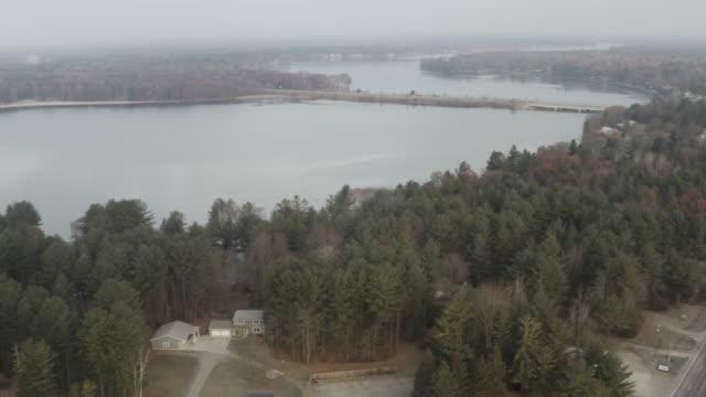 Aerial Shot of Lake and Bridge in Midwest America