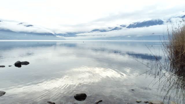 Aerial shot of lake Maggiore, Switzerland video