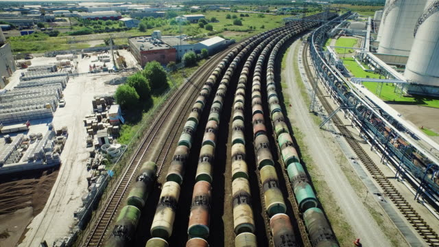Aerial Shot of Long Freight Trains in Logistic Center video