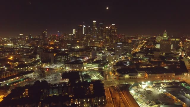 Aerial shot of Los Angeles at night where you can see Dowtown LA video