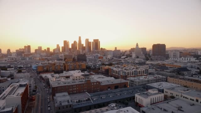 Aerial shot of Los Angeles at sunset video
