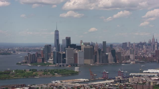 Aerial shot of lower Manhattan and Governors Island.