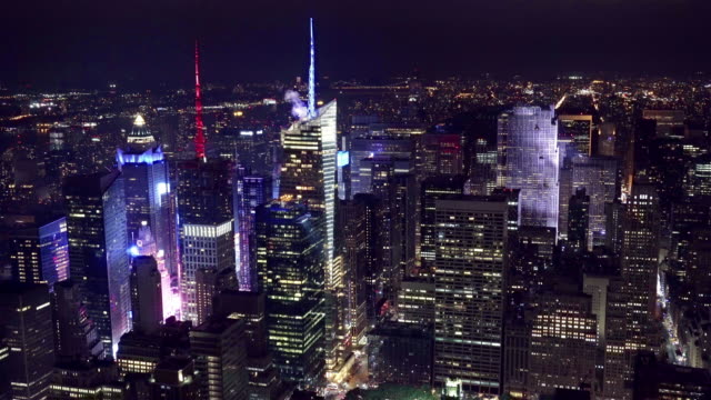 Aerial shot of Manhattan financial district at night