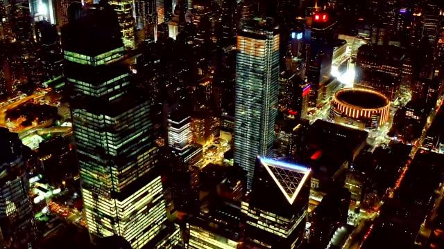 Aerial shot of midtown at night 4K