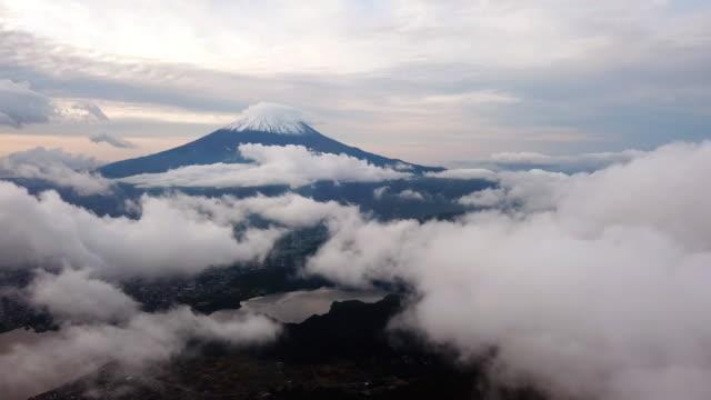 Aerial shot of Mt.fuji above the clouds and sky sunrise time , yamanashi kawaguchiko