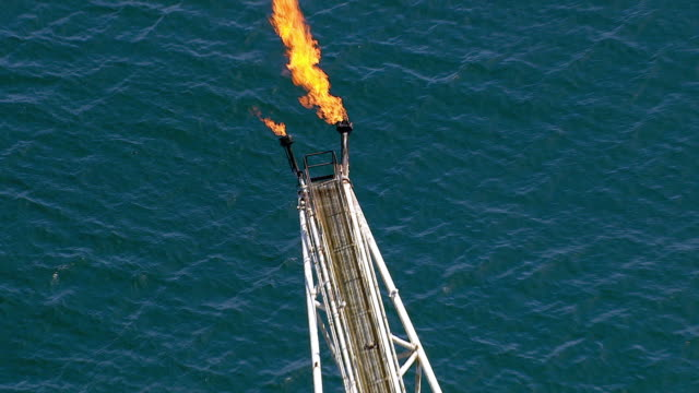 Aerial shot of off shore oil platform video