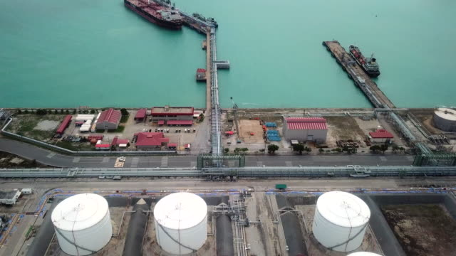 Aerial shot of oil refinery Aerial View, Factory, Helicopter, High Angle View, Power Supply storage tank stock videos & royalty-free footage