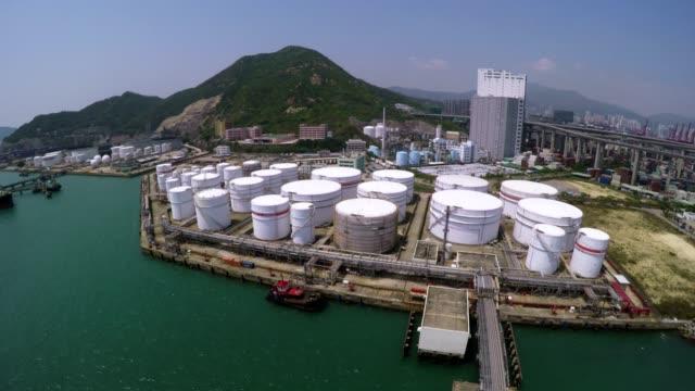 Aerial Shot of Oil Storage Tanks video