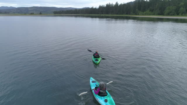 Aerial shot of older couple kayaking video