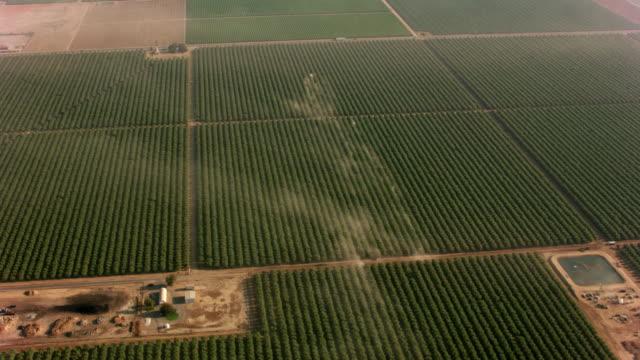 antenn skott av fruktträdgårdar med traktorer att göra damm. - fruktträdgård bildbanksvideor och videomaterial från bakom kulisserna