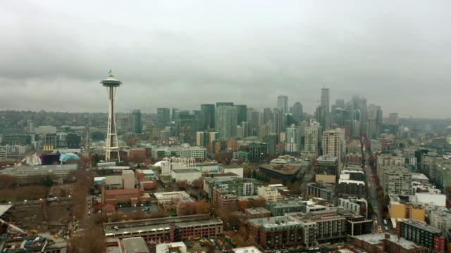 Aerial shot of overcast Seattle Skyline