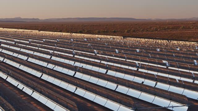 Aerial Shot of Parabolic Trough Solar Plant and Surrounding Desert