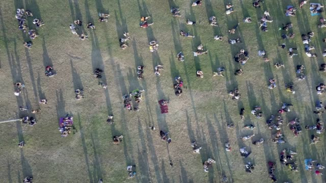stockvideo's en b-roll-footage met luchtfoto van mensen in het park - sociale bijeenkomst