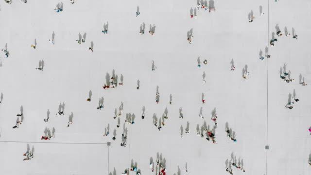 Aerial shot of people walking Aerial shot of people walking high angle view stock videos & royalty-free footage