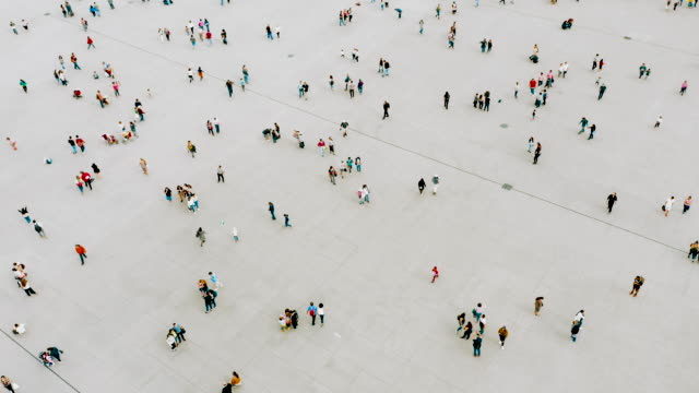 Video Aerial shot of people walking