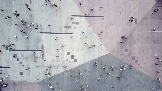 Aerial shot of people walking