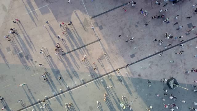 Aerial shot of people walking video