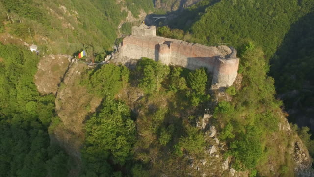 Aerial Shot of Poenari Castle 4K aerial shot of Poenari Castle, Romania, built during the 13th century count dracula stock videos & royalty-free footage
