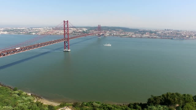 Aerial shot of Ponte 25 De Abril Aerial shot of Ponte 25 De Abril, in Lisbon, Portugal. ponte 25 de abril stock videos & royalty-free footage