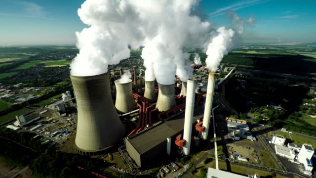 Aerial shot of power station video
