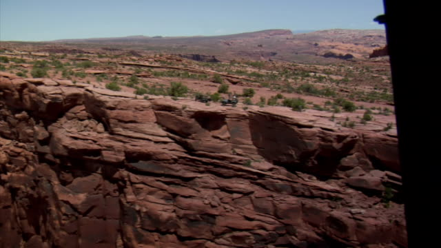 aerial shot of redrock mountain biking moab utah video