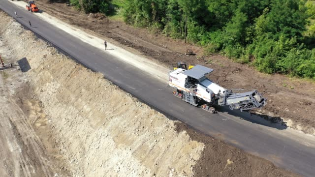 Aerial shot of road construction