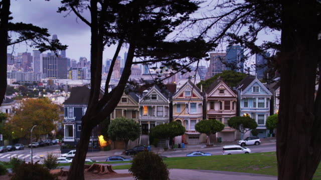 Aerial Shot of San Francisco Ascending Past the Painted Ladies video