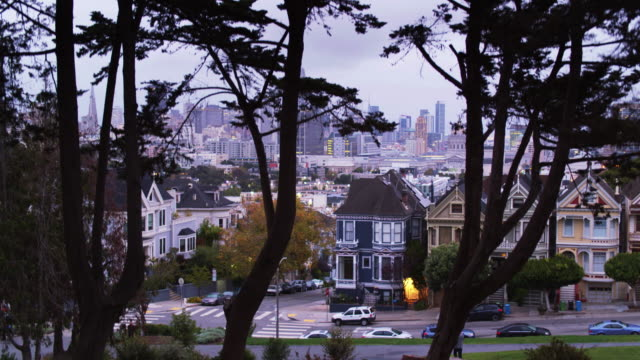 Aerial Shot of San Francisco Descending Past the Painted Ladies video