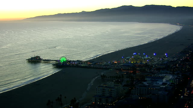 Aerial shot of Santa Monica at dusk video